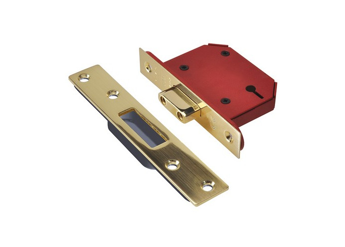 UNION Y2103S-PB-3.0 StrongBOLT 3 Lever Mortice Deadlock Polished Brass 81mm 3in Visi - 1