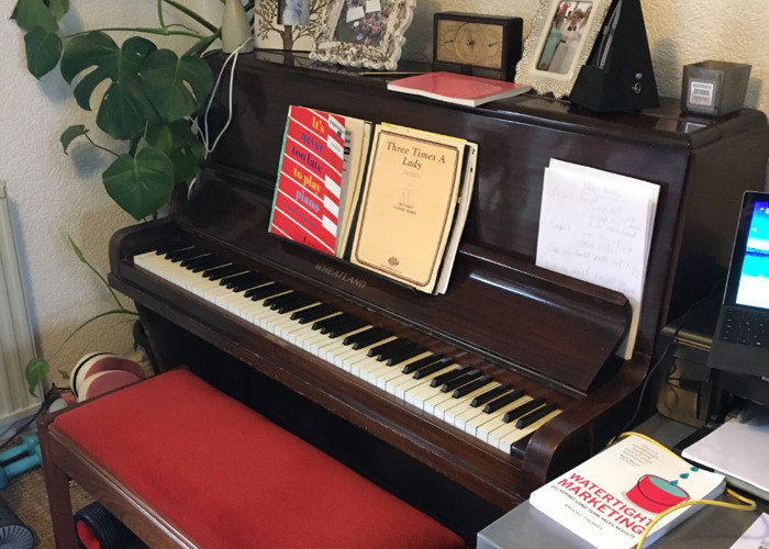 Upright Piano - E. Wheatland & Sons London & Piano Stool  - 1