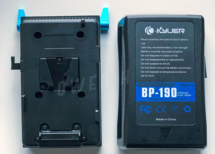 Kyur BP-190 V Mount 198 Wh 13400 MAh Battery + 15mm Rod Base Plate - 1