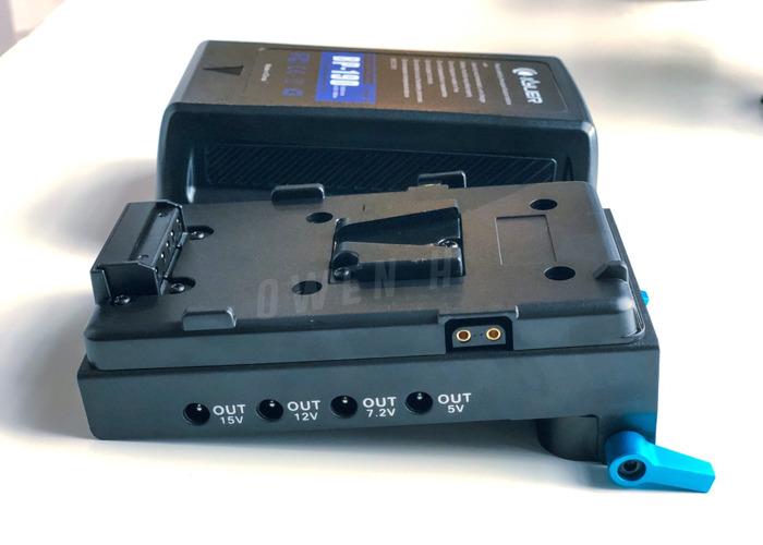 Kyur BP-190 V Mount 198 Wh 13400 MAh Battery + 15mm Rod Base Plate - 2