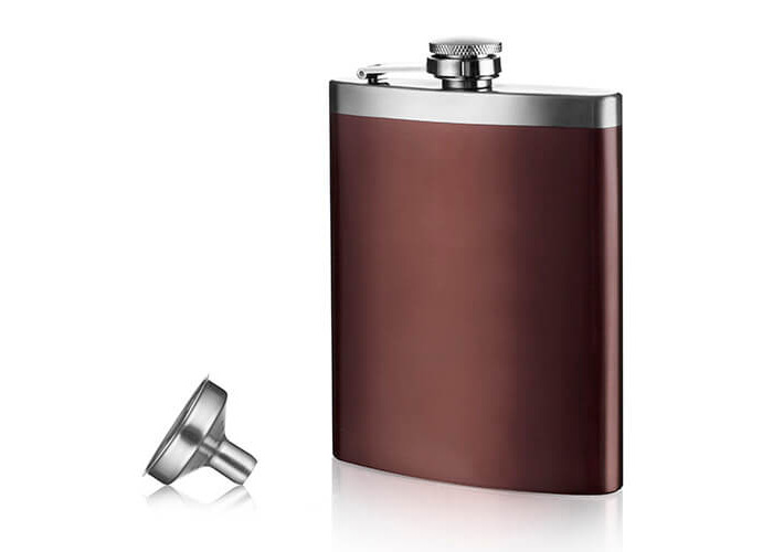 Vacu Vin Hip Flask and Funnel, Brown/Silver - 1