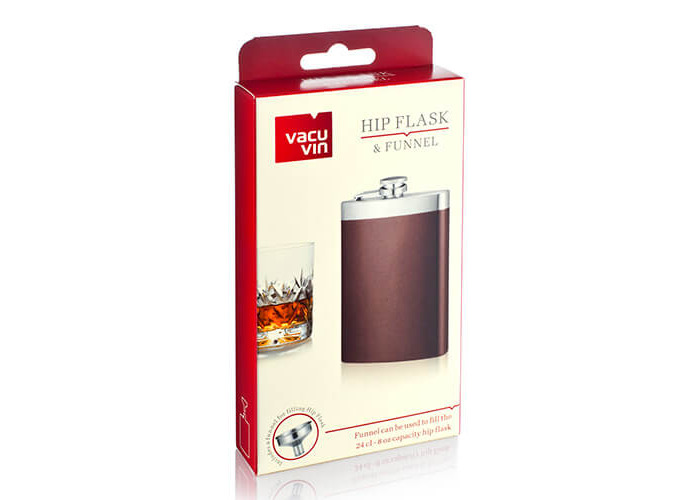 Vacu Vin Hip Flask and Funnel, Brown/Silver - 2