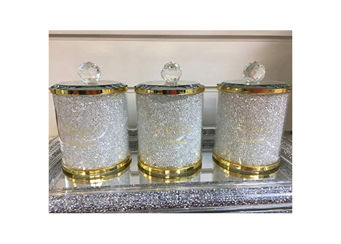 Value For Money - Fabulous Diamond Crushed & Crystal Filled Set of 3 Kitchen Storage CANISTERS Tea Coffee Sugar Jars - Unique Collection to Your Kitchen Decor (Gold) - 1