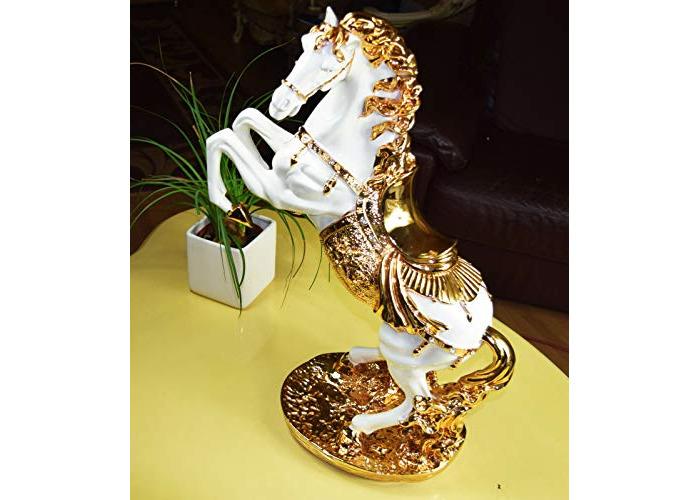 Value For Money Luxurius Grand Italian Horse Statue in Golden & White Colour - 1