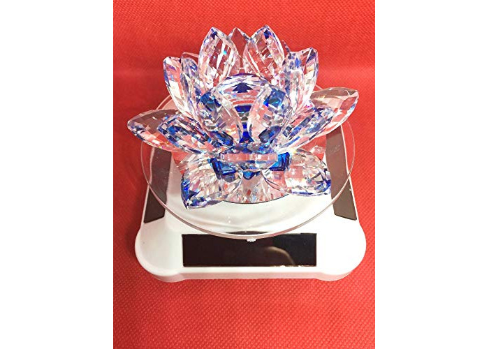 value for money -multi color glass crystal lotus flower shape candle hodler with solar and battery operated spin system for wedding,anneversary gift (Blue) - 1
