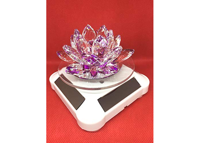 value for money -multi color glass crystal lotus flower shape candle hodler with solar and battery operated spin system for wedding,anneversary gift (purple) - 1