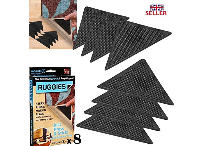 Value for Money Products RUG CARPET MAT GRIPPERS RUGGIES NON SLIP SKID REUSABLE WASHABLE GRIPS UK (8) - 1