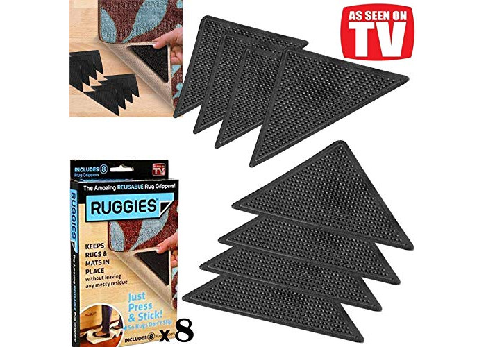value for money RUG CARPET MAT GRIPPERS RUGGIES NON SLIP SKID REUSABLE (16) - 1
