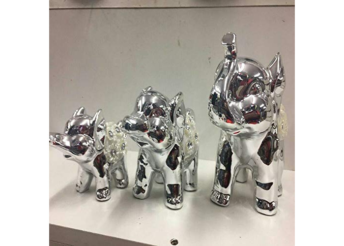 Value For Money set of 3 Contemporary Silver Ceramic Elephant Ornaments add a unique beauty to your collection - can be given as gift (Gold) - 1