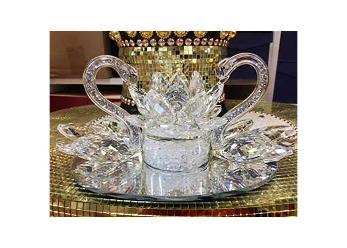 Value For Money-Large Decorative Crystal Glass Double Swan with Lotus Ornament- Wedding,Anniversary Giftware Present - 1