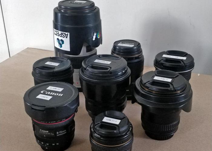 Various Canon lens's. 70-200, 24, 17-40, 24-105, 50, 15 - 1