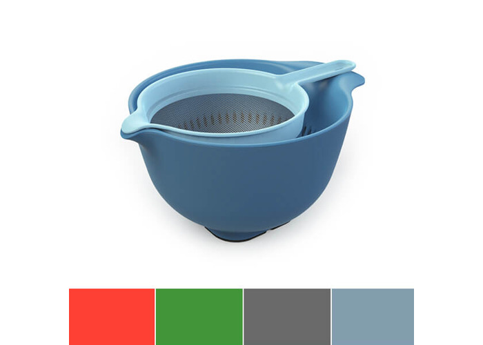 Venn Kitchen Mixing Bowl, Colander & Sieve Set, Blue - 1