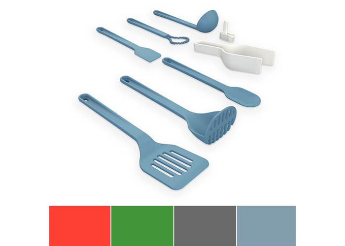 Venn Kitchen Silicone Interlocking 8-Piece Utensil/Kitchen Tool Set with Utensil Hook for Storage, Blue - 1