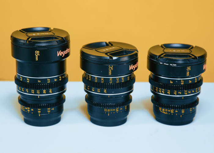 Veydra 4k T2.2 MFT Cine Primes Lens perfect for GH5 and BMPCC 4K, 16mm 35mm 85mm - 1