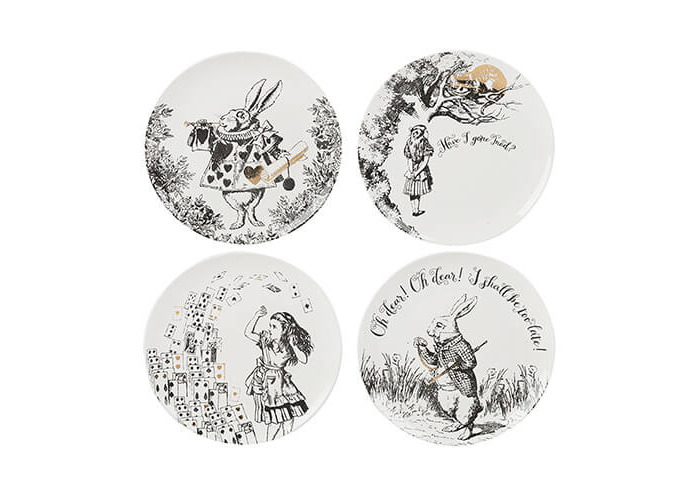 Victoria & Albert Alice in Wonderland Side Plates, White, Set of 4 - 1