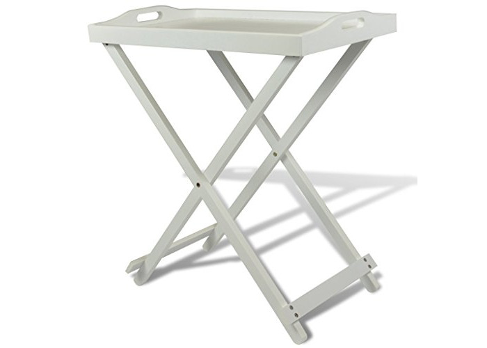 vidaXL Homestyle Folding Serving Tray Side Table Breakfast in Bed with Handle White MDF - 1