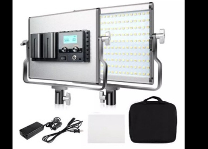video lights, dimmable, bicolour, battery / ac power / stand - 1