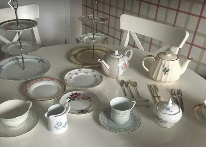 Vintage Afternoon Tea set with cake stands - 1