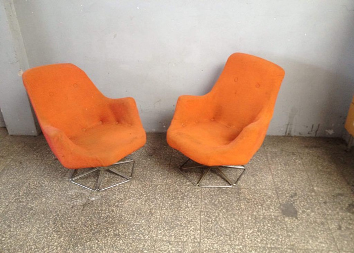Pair of Big Tubby Cocktail Vintage Chair Metal Framed Molded Foam - 1