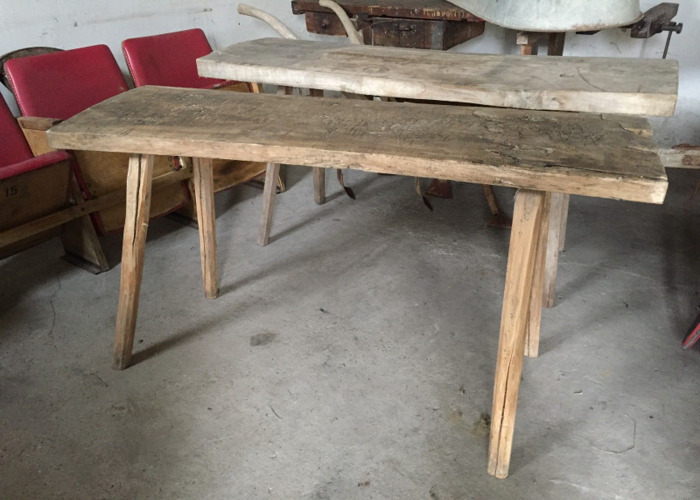 1 VINTAGE Butchers Block Table Furniture, Side Board Timber (2 available) - 1