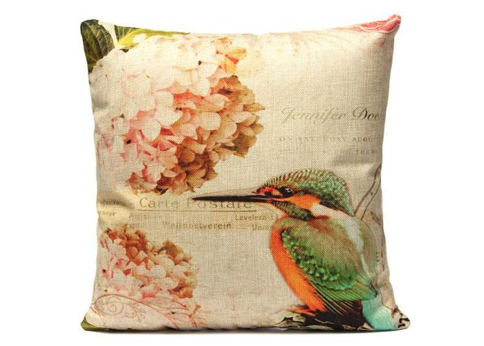 Vintage Linen Flower Bird Throw Pillow Case Sofa Cushion Cover - 1