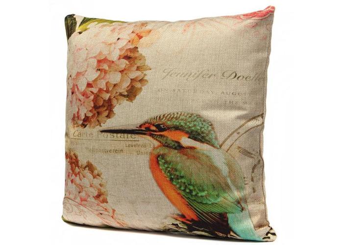 Vintage Linen Flower Bird Throw Pillow Case Sofa Cushion Cover - 2