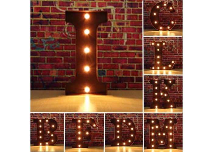 Vintage Metal LED Light DIY Letter A to M Sign Carnival Wall Marquee Decoration - 1