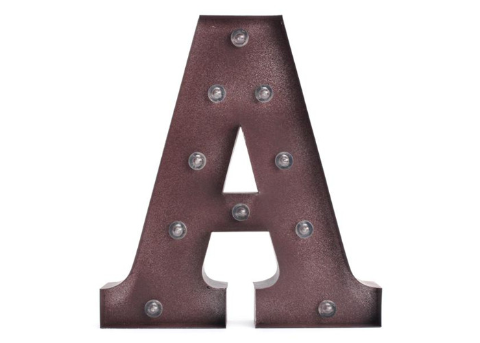 Vintage Metal LED Light DIY Letter A to M Sign Carnival Wall Marquee Decoration - 2
