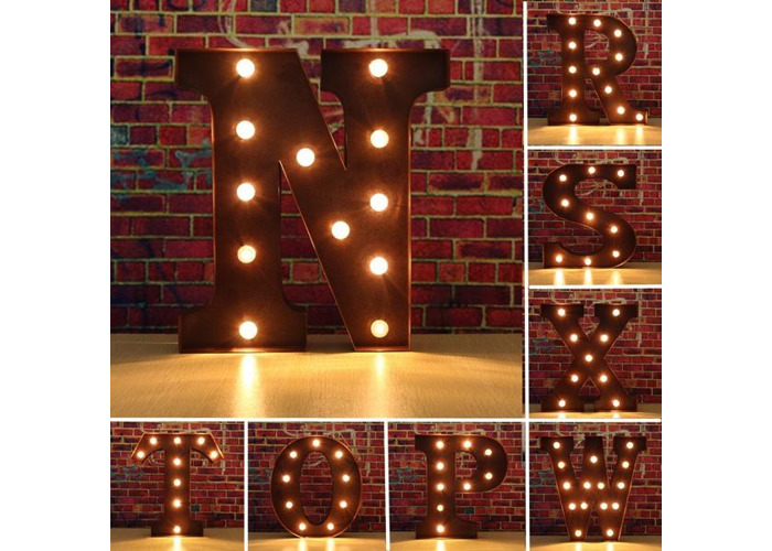 Vintage Metal LED Light DIY Letter N to X Sign Carnival Wall Marquee Decoration - 1