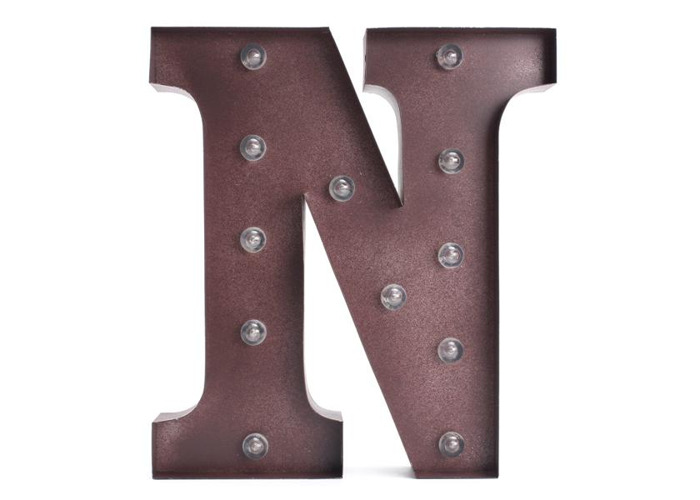 Vintage Metal LED Light DIY Letter N to X Sign Carnival Wall Marquee Decoration - 2