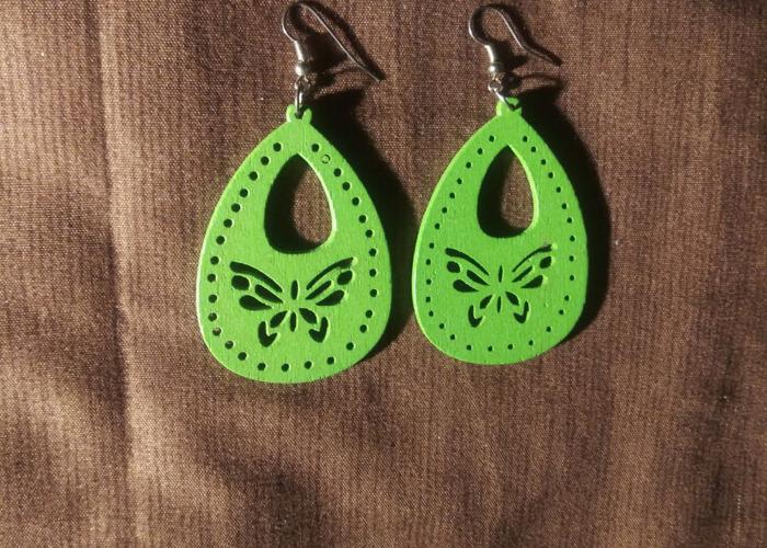 Vintage wood earings  butterfly design  - 1