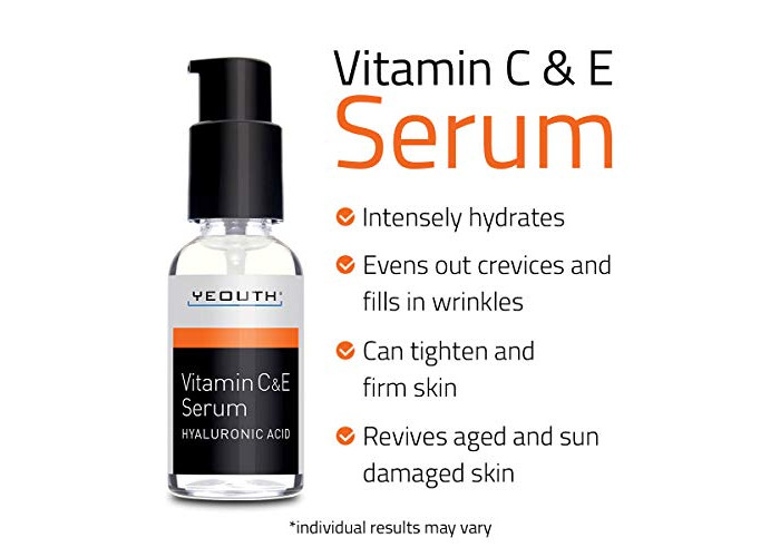 Vitamin C Serum For Day with Hyaluronic Acid Serum, Vitamin E, Anti Aging, Anti Wrinkle, Fill Fine Lines, Evens Skin Tone, Fades Age Spots, Medical Grade Skin Care Formula For Face - YEOUTH - 2