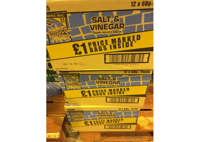 Walkers Squares Salt And Vinegar £1 Bag 12 X 68g Bags Only £11.99 - 1
