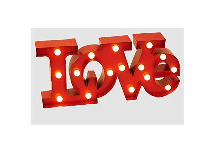 Wall Hanging Light Up LOVE Sign Red With White Light Display Decoration Signboard - 1
