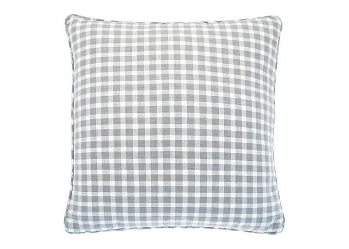 Walton & Co Portland Check Cushion Dove Grey Poly Filled - 1