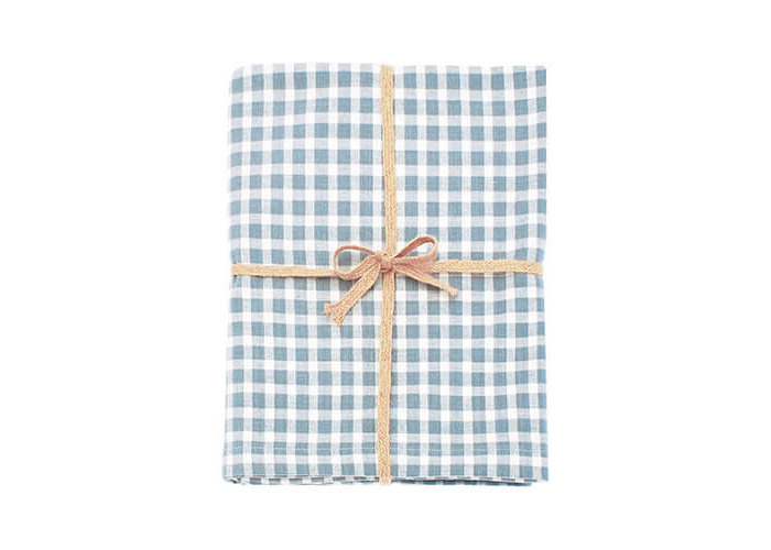 Walton & Co Portland Check Tablecloth Blue Cedar 130x130cm - 1