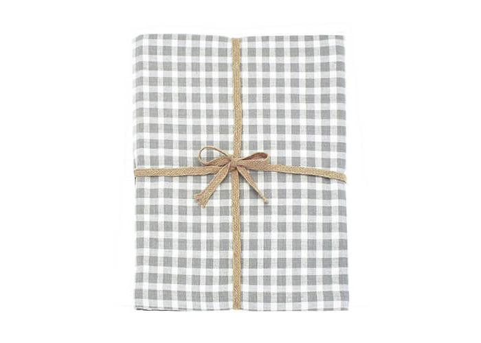 Walton & Co Portland Check Tablecloth Dove Grey 130x130cm - 1
