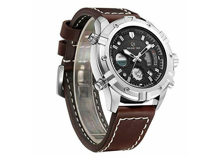 Watches Men Sport Digital Analog Waterproof Multifunctiona<wbr/>l Military Leather Ala - 1