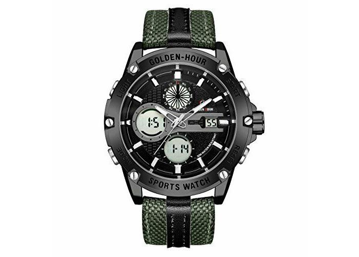 Watches Men Sport Digital Analog Waterproof Multifunctiona<wbr/>l Military Leather Ala - 2
