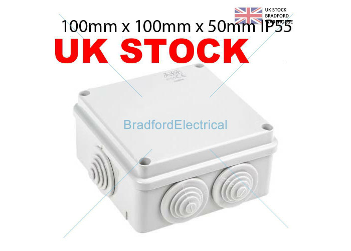 Waterproof Junction Box 100x 100 x 50 IP55 PVC for use with conduit-TV etc - 1