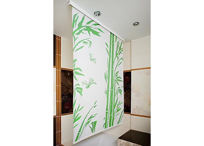 Waterproof Shower Curtain Blind , Modern, Stylish , Space Saver [Bamboo,W120cm - L190cm] - 1
