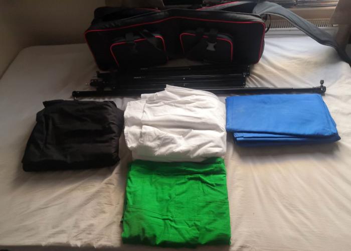 White, Black, Blue & Green Backdrop Kit - 1
