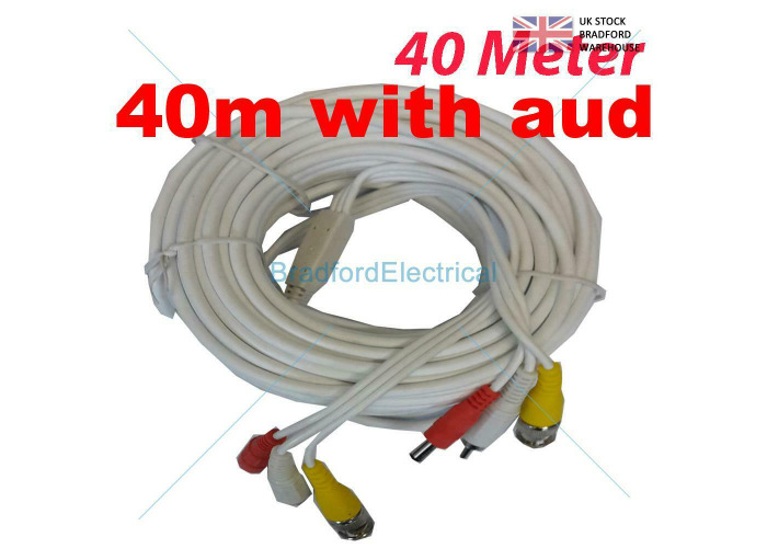 WHITE BNC DC CCTV Security  Video Camera DVR Data Power Cable - 40M AUDIO - 1