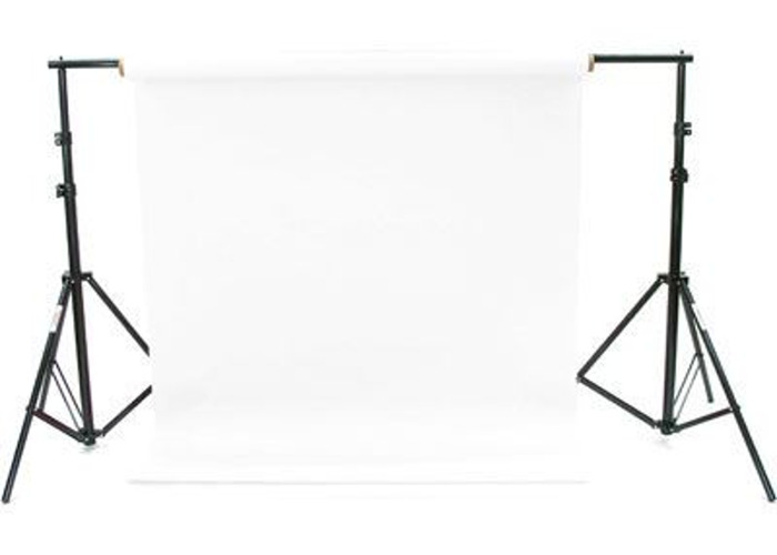 White colorama photo or video backdrop with stands and horizontal bar - 1