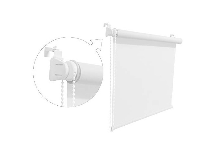 White Window Roller Blind Choice of 19 Width Sizes, 200cm Drop, 120cm wide (+4.5cm fittings) - 1