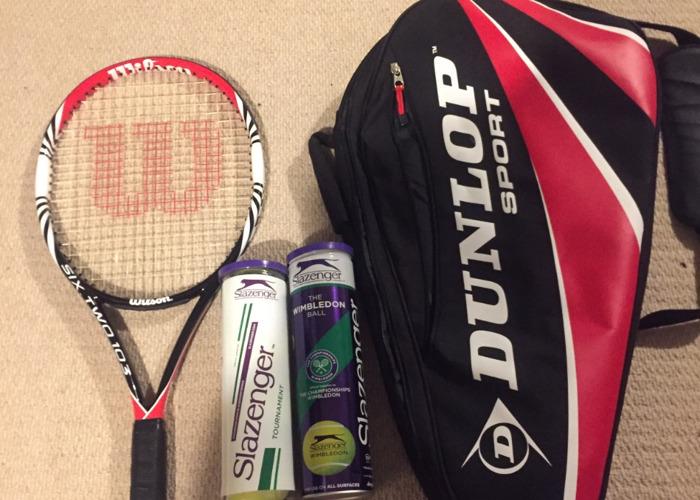 Wilson tennis racket, bag and balls - 1