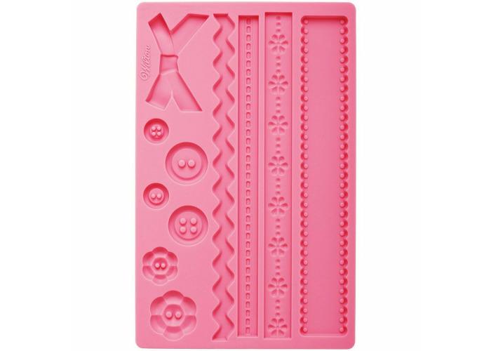 Wilton Fabric Fondant Gum Paste Accents Silicone Decorating Cake Sugarcraft Mold - 2
