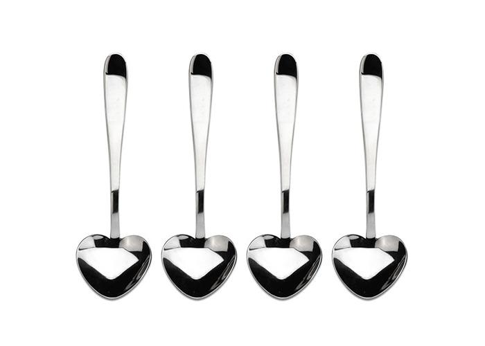 Windsor Sweet Heart Shaped Teaspoon Spoon Pack 4 - Stainless Steel - 2