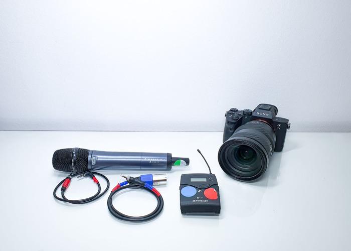 Wireless microphone Sony a73 camera Sony 24 70 mm lens - 1