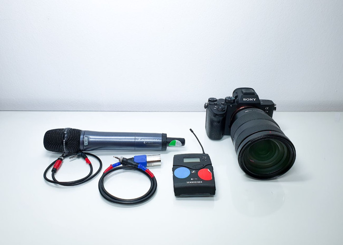 Wireless microphone Sony a73 camera Sony 24 70 mm lens - 2
